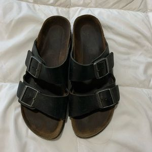 Birkenstock's brown leather slides